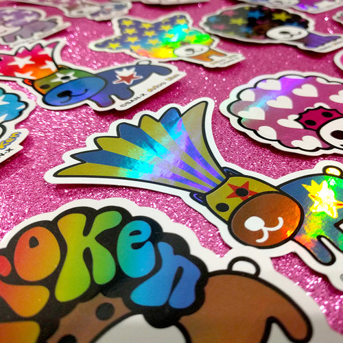 Hollographic sticker references we brought from Japan.