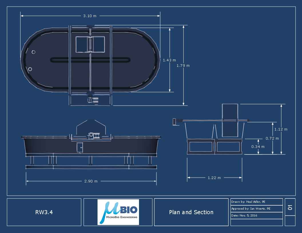 Dimensions for RW3.4 Algae Raceway Pond MicroBio Engineering