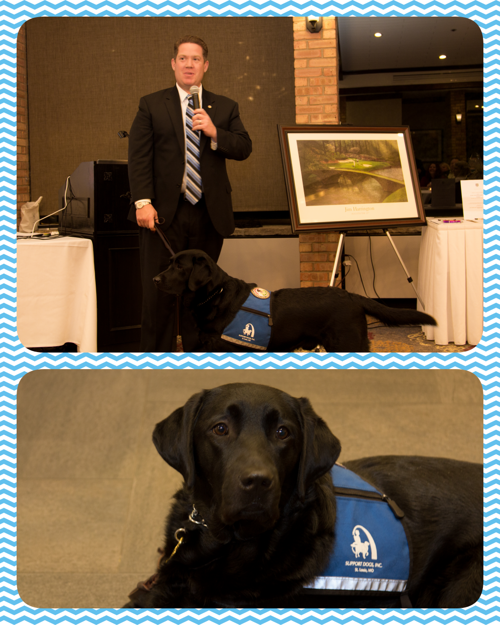 Mike Nerheim, Lake County States Attorney, and Hitch, service dog.
