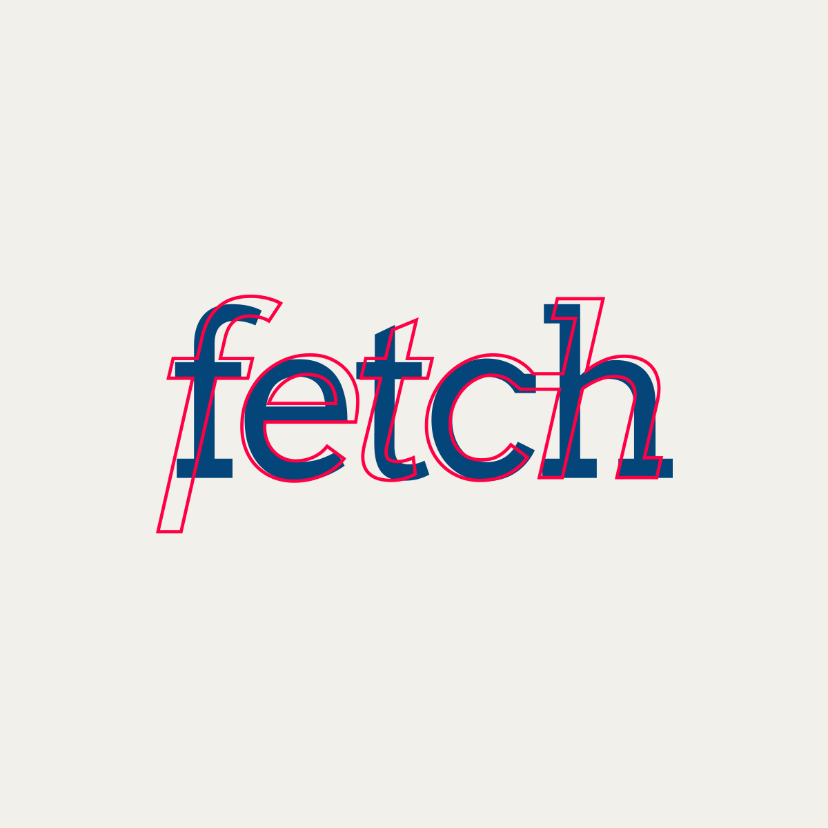 """Fetch's Logo - Fetch's vibrant, colorful brand needed an updated wordmark that matched its buzz and enthusiasm. I chose to keep Fetch lowercase to communicate youthfulness and italics to convey progress, motion, and excitement. The result was a modified version of Arvo Italic with an added """"ch"""" ligature that ties in their mission of connecting customers with small, local businesses."""