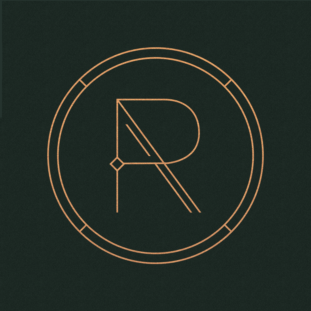 """Ritual's Mark - Ritual's logomark is by far the most iconic branding component. As with all of the design elements used, the mark is based in geometry with additional lines added to the """"R"""" for a more ornate look. The diamond within the letter is repeated throughout the brand to add cohesion and consistency."""