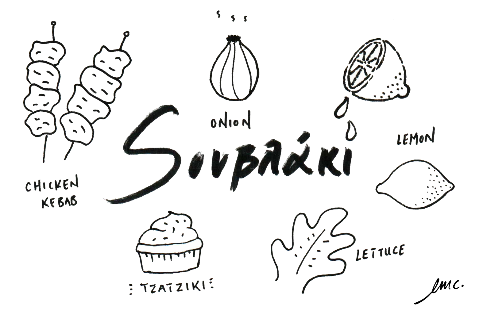 Souvlaki Illustration - Inspired by Greek lettering.