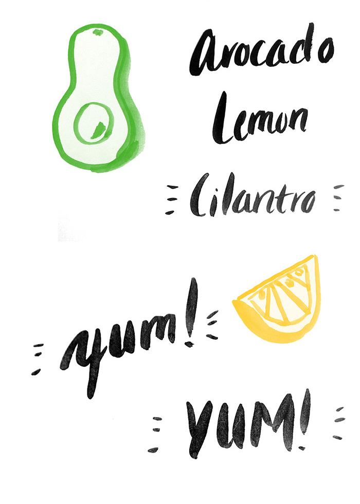 Illustrated Recipe for Avocado Smash.
