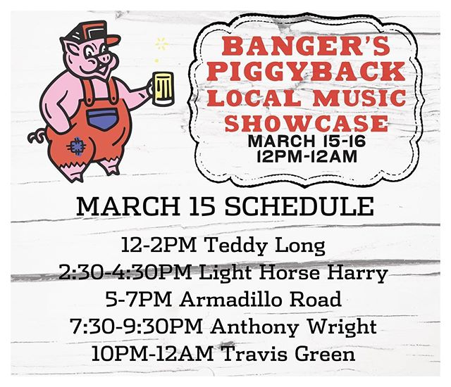 We're kicking off our Friday right with Banger's Piggyback Local Music Showcase. Music kicks off at noon and goes until we close. We'll be open to the public all weekend. Grab a beer, sausage and enjoy the beautiful #Austin weather in our #BeerGarden. See you soon!. . . . . #raineystreet #bangers #atx #sxsw #365thingsaustin #livemusic #beer #sausage #beerstagram #foodstagram