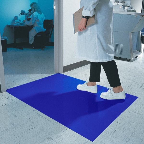 The Tacky Clean Room Mat effectively catches dirt, debris and potential contaminants with it's adhesive surface.
