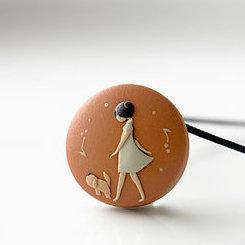 Ceramic Necklace: Woman Walking Dog