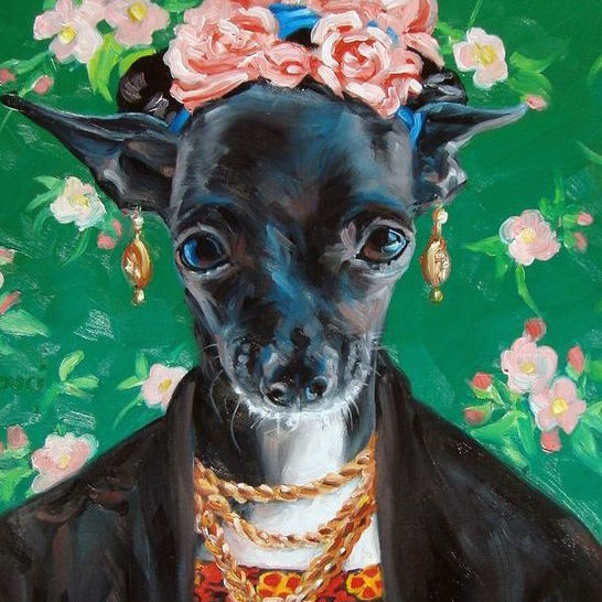 """Chihuahua Winnie IS Frida Kahlo, pet costume craze, CUSTOM Pet Portrait Oil Painting by puci, 12x16"""" by PuciPetPortraits on Etsy"""