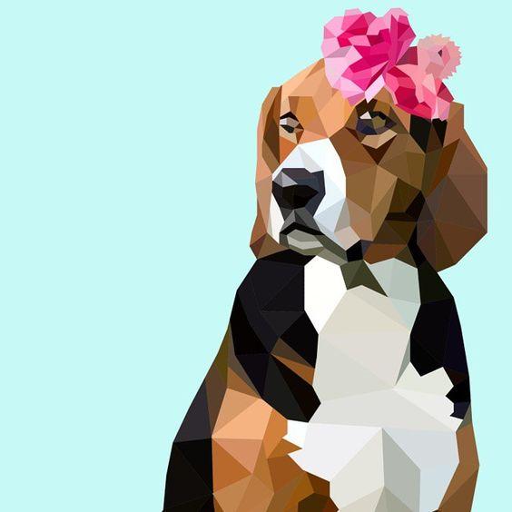 Beagle Wearing Pink Flowers Digital Art by BessiBunter on Instagram