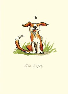 Bee Happy Dog with Bumble Bee Illustration
