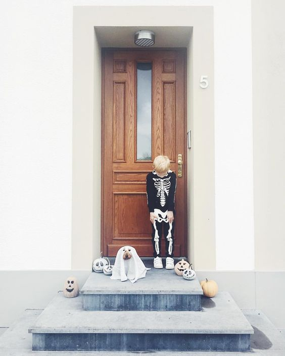 Skeleton & Ghost Costumes - Dog & Child