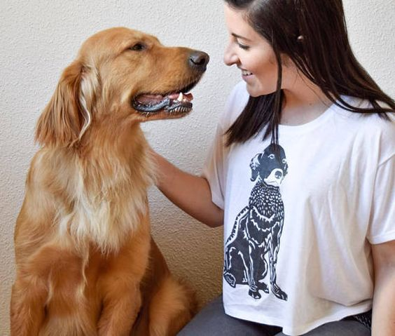 Barkley & Wagz Linocut Dog Portrait T-Shirt for Women