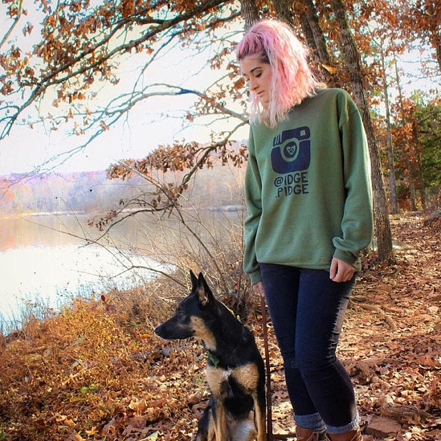 Customizable Dogstagram Instagram Instadog Sweater Crew Neck Unisex Sweatshirt or Hoodie | Grey Long Sleeve Sweatshirt | Dog Lovers Sweater