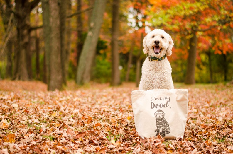 "Goldendoodle Tote Bag ""I Love My Dood"" By Barkley & Wagz"