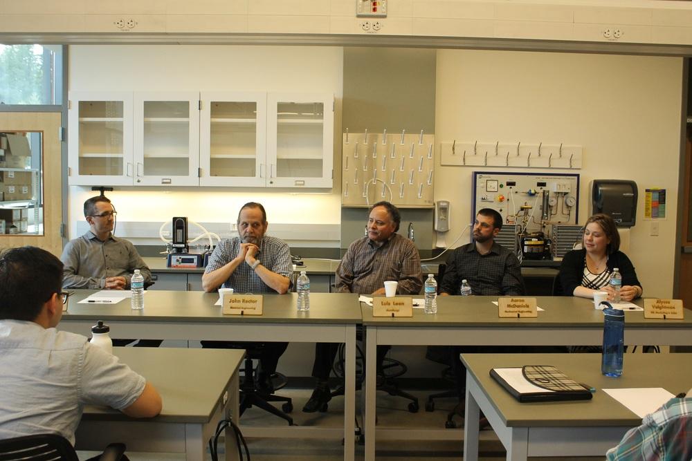 From left to right: Zebrick Roach, John Rector, Luis Leon, Aaron McDaniel, and Alyssa Voightmann participate in the UW Bothel's ASME Panel on April 8, 2016.