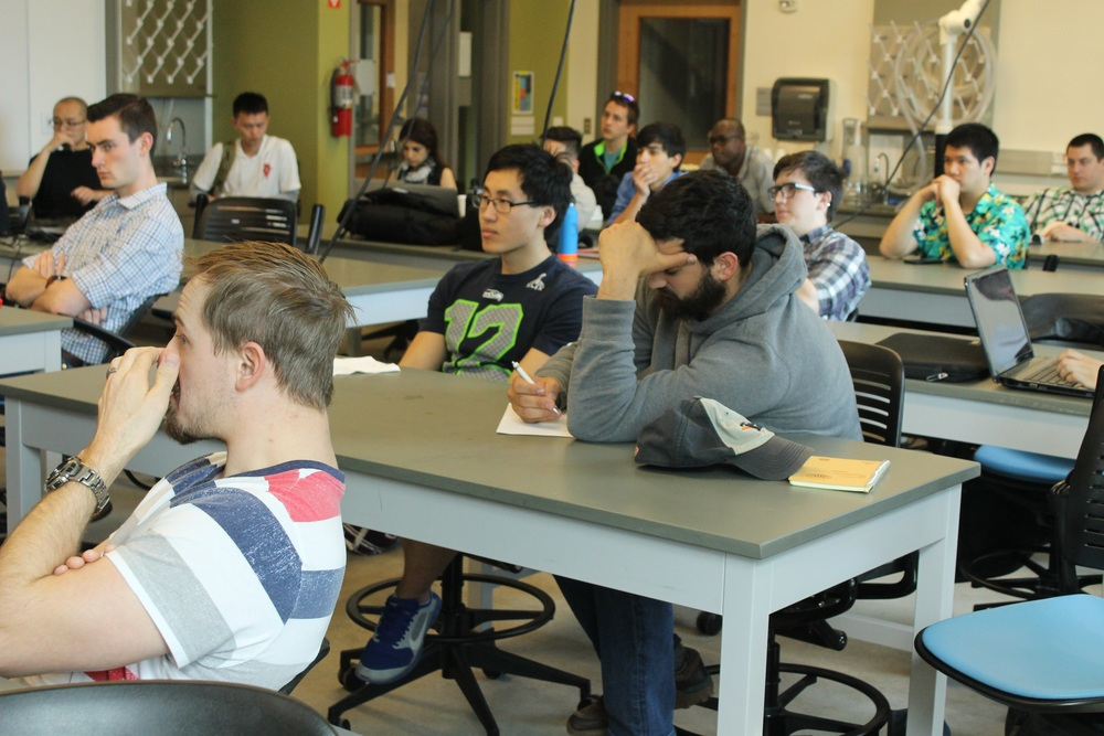 Mechanical engineering students participate in the UW Bothell's ASME Q&A panel. April 8, 2016.