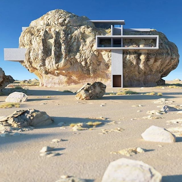 House in a Rock - designs by @ameyzing_architect . . . #houseonarock #house #fictionalarchitecture
