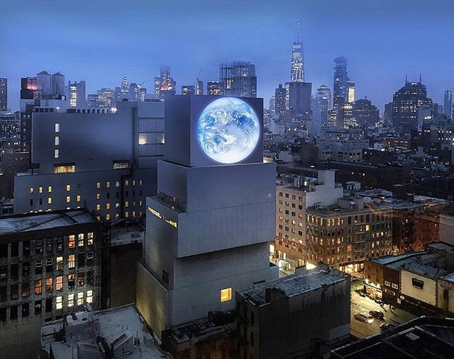 "projection of our planet on the New Museum ""blu marble"" - March 2019 🌎🌍🌏 . . by artist Sebastian Errazuriz . . #carlsagan #palebluedot #earthdayeveryday #earthday #climatechangeisreal #artintheanthropocene"