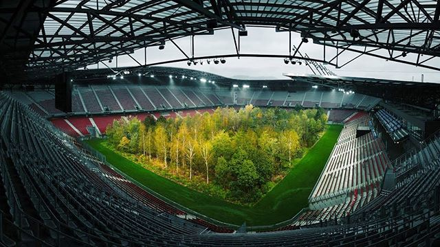 """""""For Forest"""" an installation of 299 Trees in Woryhersee Stadium, Austria. 🌲🌍 . . """" ... wanted people who saw the forest to think about humanity's impact on the environment in places like the Amazon.  One day, he added, seeing trees could be a rare spectacle, like going to a soccer match or looking at animals in zoo."""" - Klaus Littman . .  #forest #climatechange . .  Source: NYTimes, September 24th 2019"""