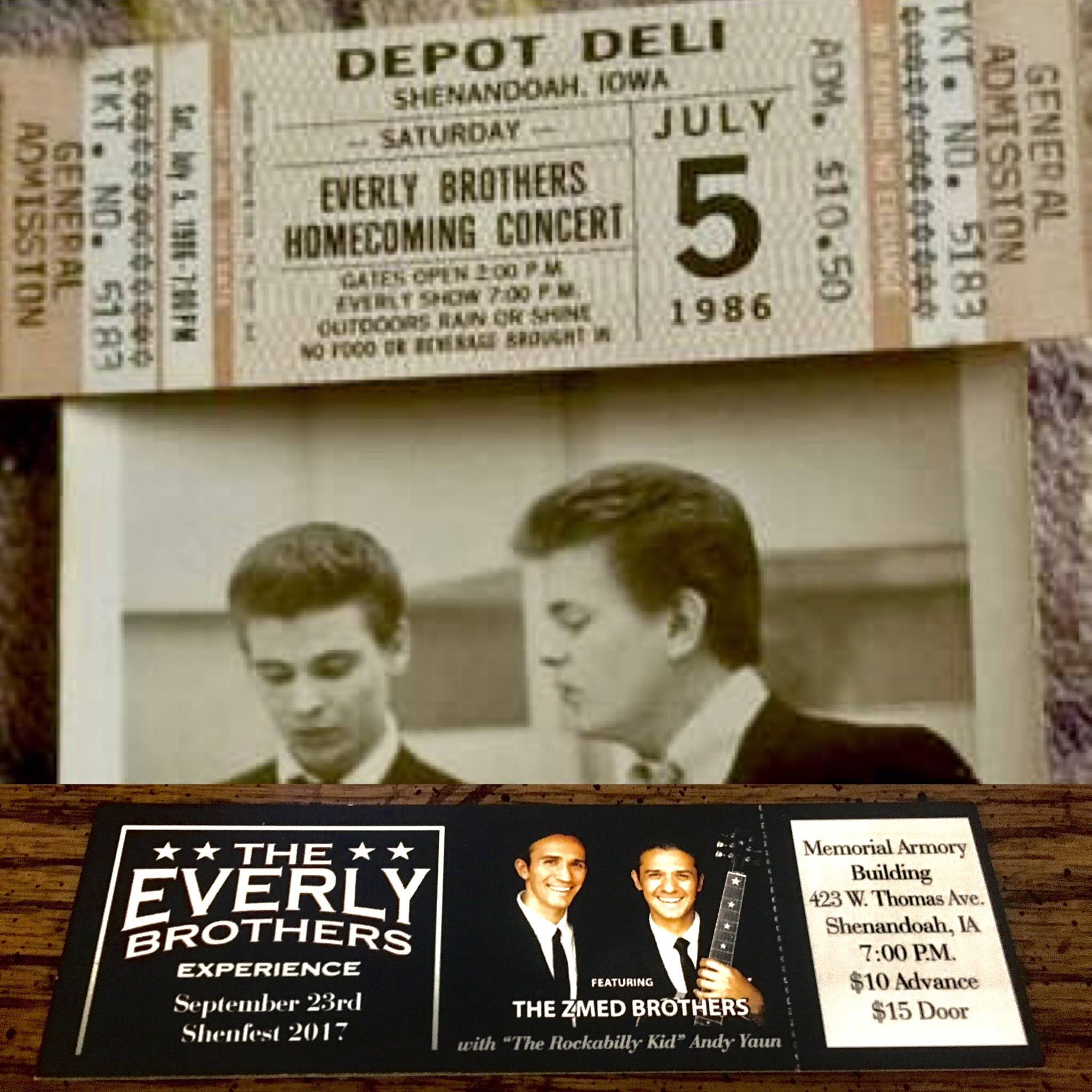 (top) 1896 Everly Brothers Homecoming ticket (bottom) Our Shenfest ticket from 2017