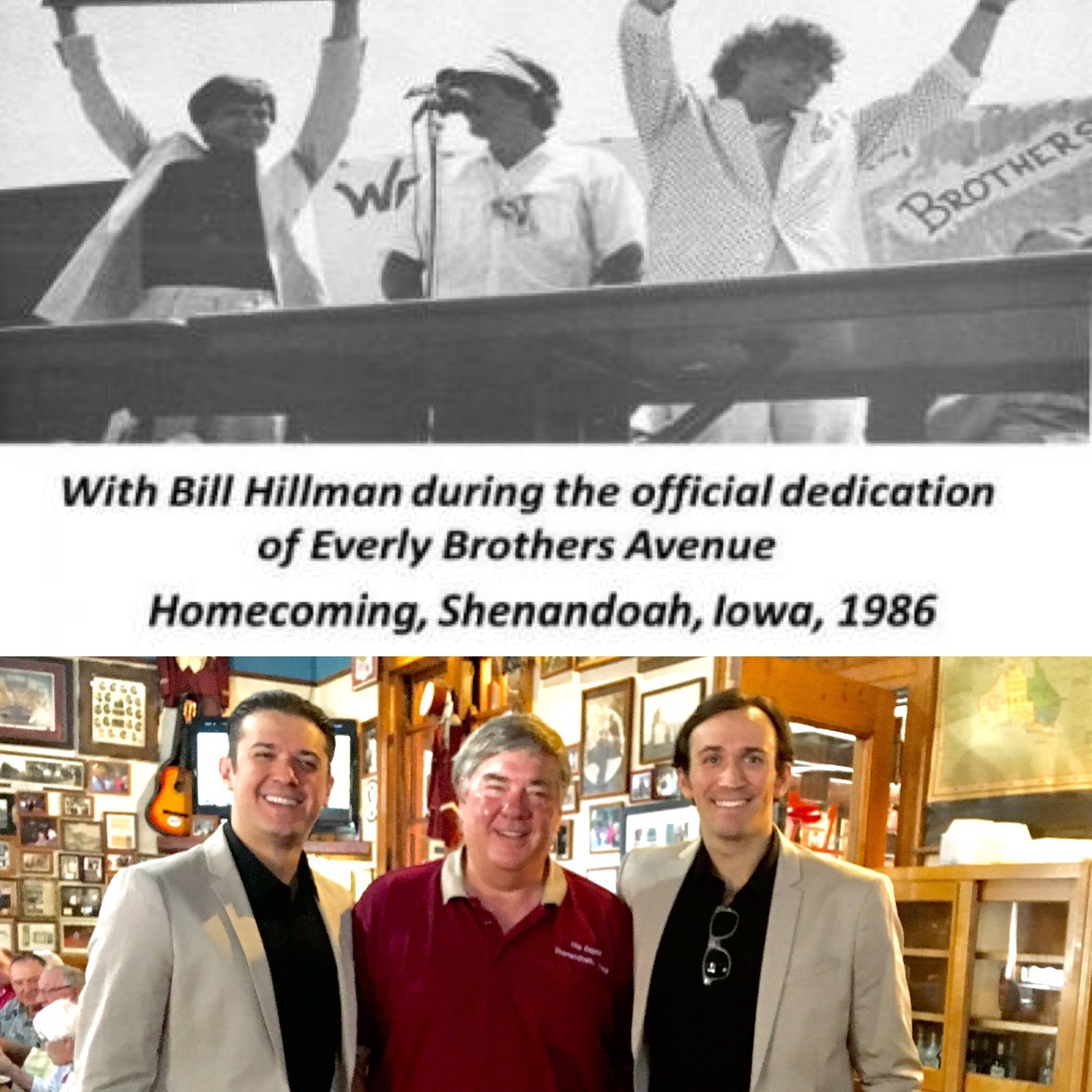 Zach and Dylan with Bill Hillman in The Depot just before all the festivities began, 2017