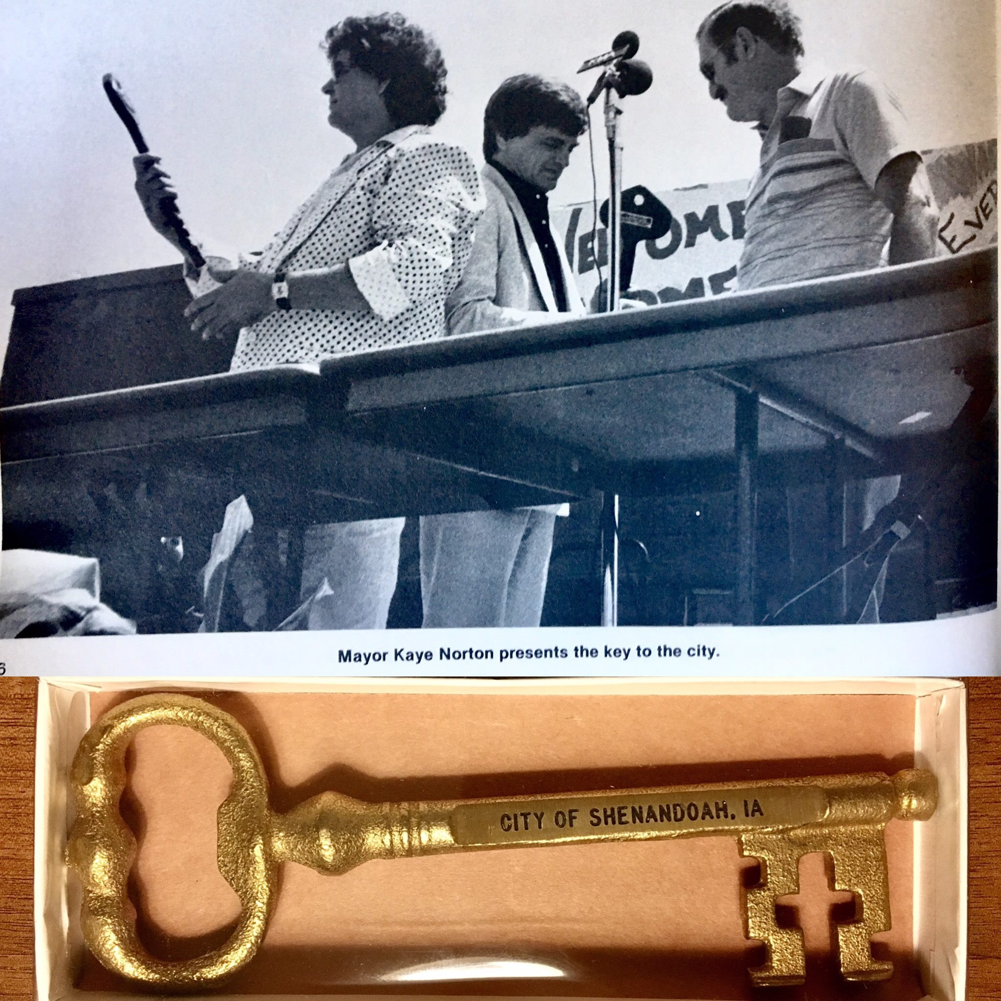 (top) Don and Phil getting the key to the city of Shenandoah presented to them by Mayor Kaye Norton in 1986 (bottom) The key that mayor Kaye Norton presented Zach and Dylan on September 23rd at the beginning of their performance in The Armory in 2017