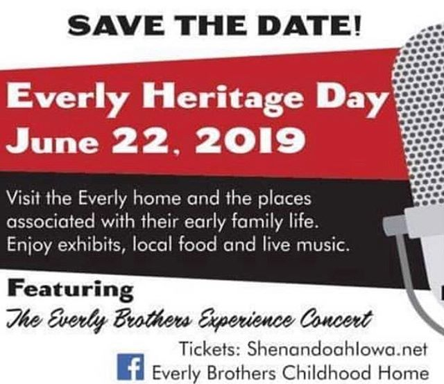 Excited to be part of this amazing event coming up next weekend! Everly Heritage Day in Shenandoah, Iowa is Saturday, June 22!