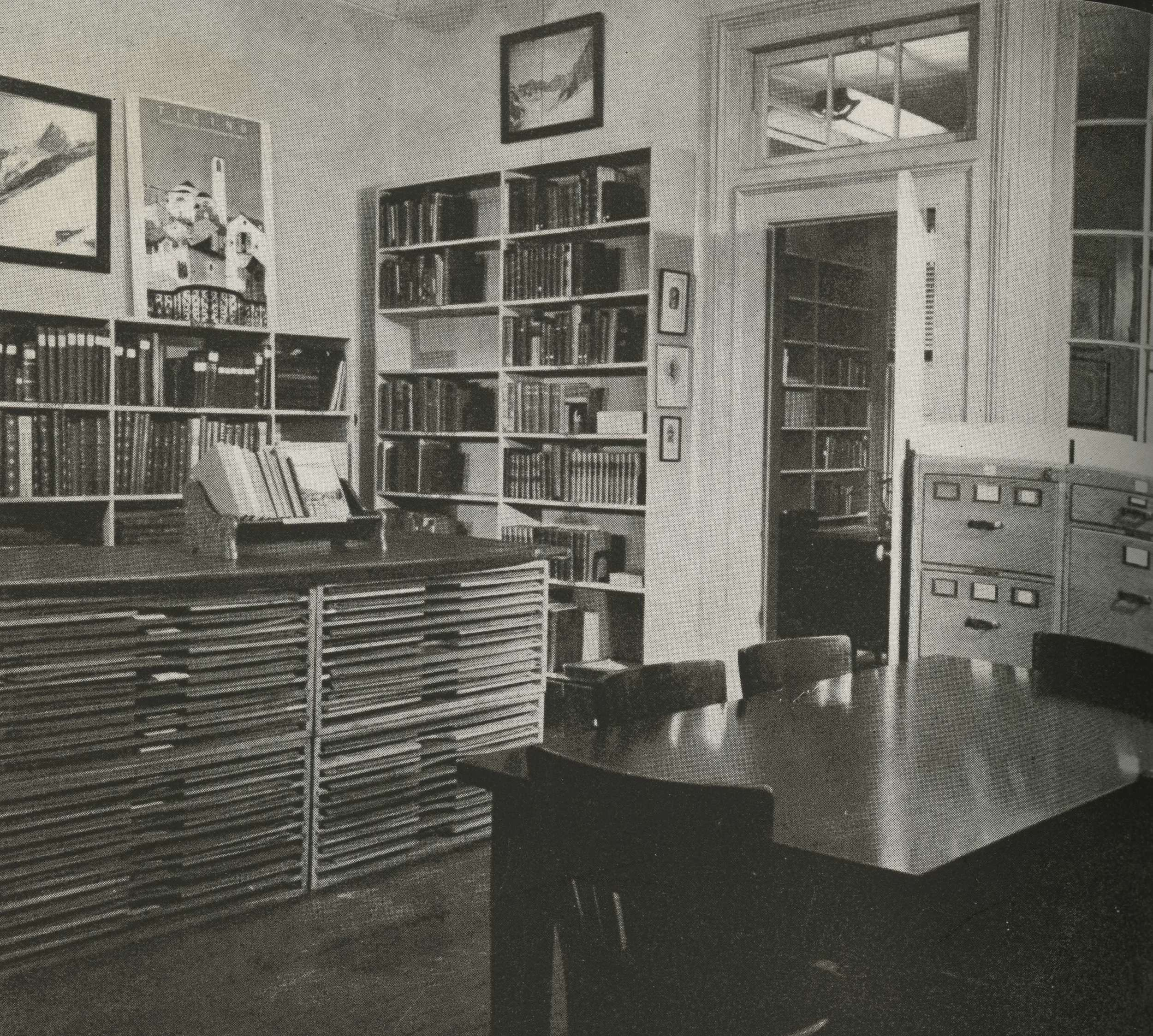 One of the library rooms in the clubhouse at 113 East 90th Street, NYC, in 1948. Photo: American Alpine Journal, 1949.