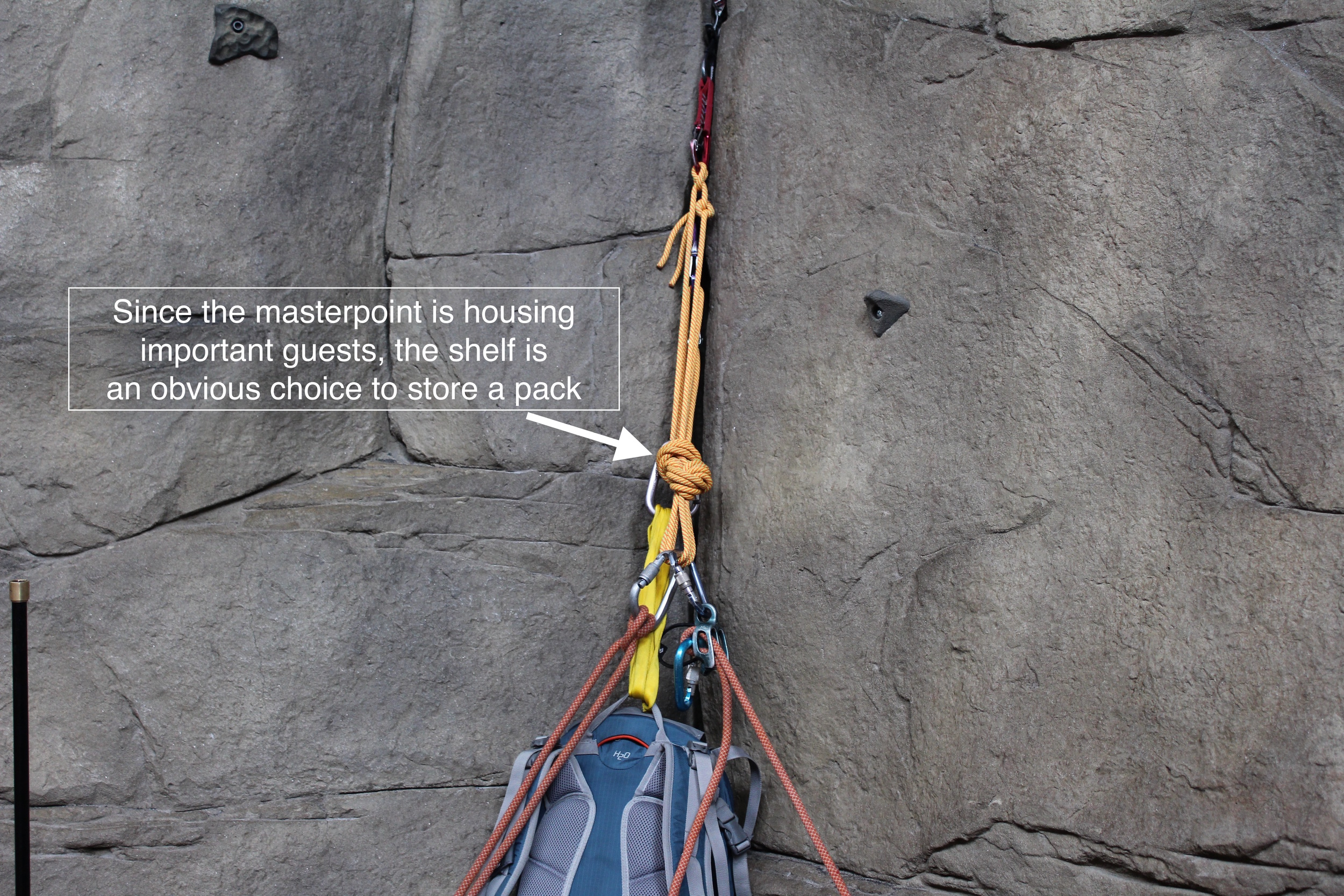 If the climbing teams needs an auxiliary attachment point that has the same values as the masterpoint, the shelf is always available.  The backpack, for example, is not a primary resident of the anchor, but it might be heavy and have vital equipment inside.