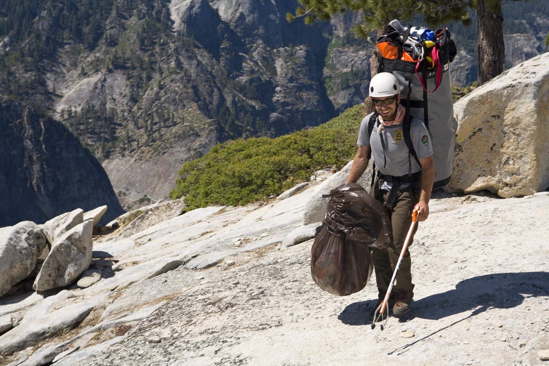 Ranger Jesse McGahey at work in Yosemite Valley.