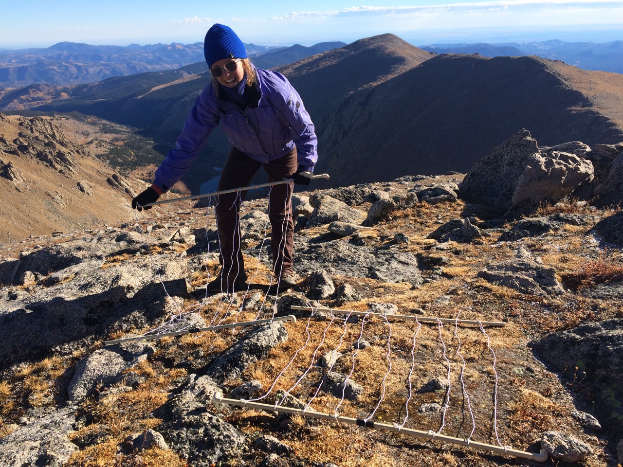 Nathalie's field assistant, Clea Berholet, assembling the surveying grid on Grey's Peak