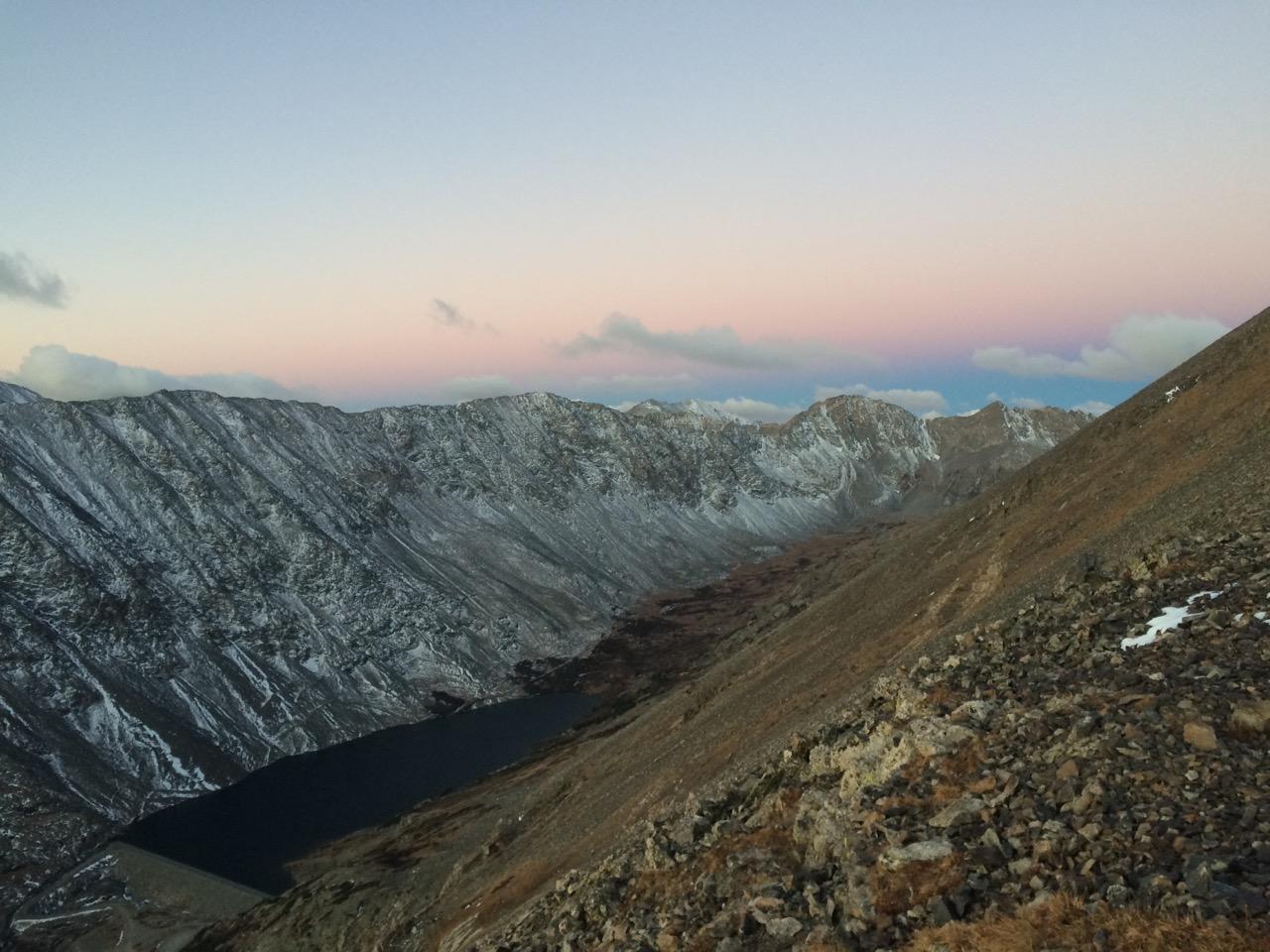 Alpine sunrise on Quandary Peak during Nathalie's field work