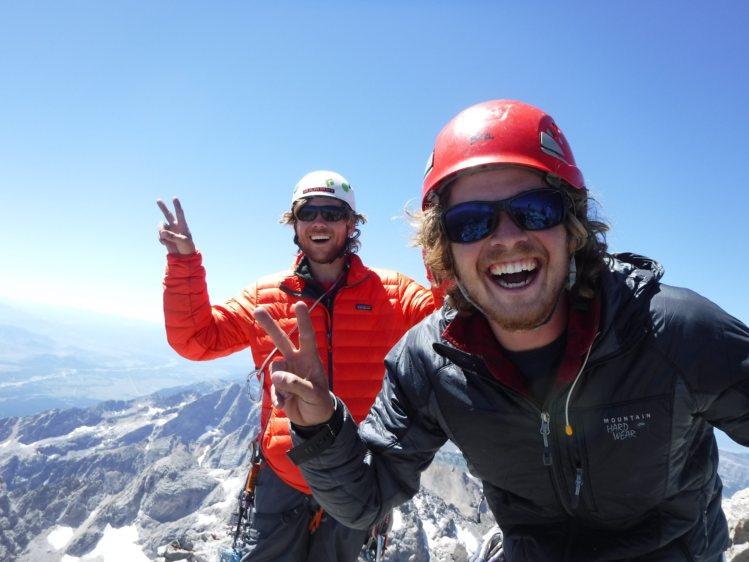 Trevor Bloom (right) and partner Matt Kneipp (left) on the summit of the Grant Teton during field work (2015)