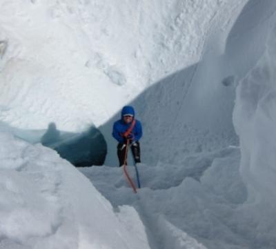 Skander Spies exits a crevasse in Denali National Park.