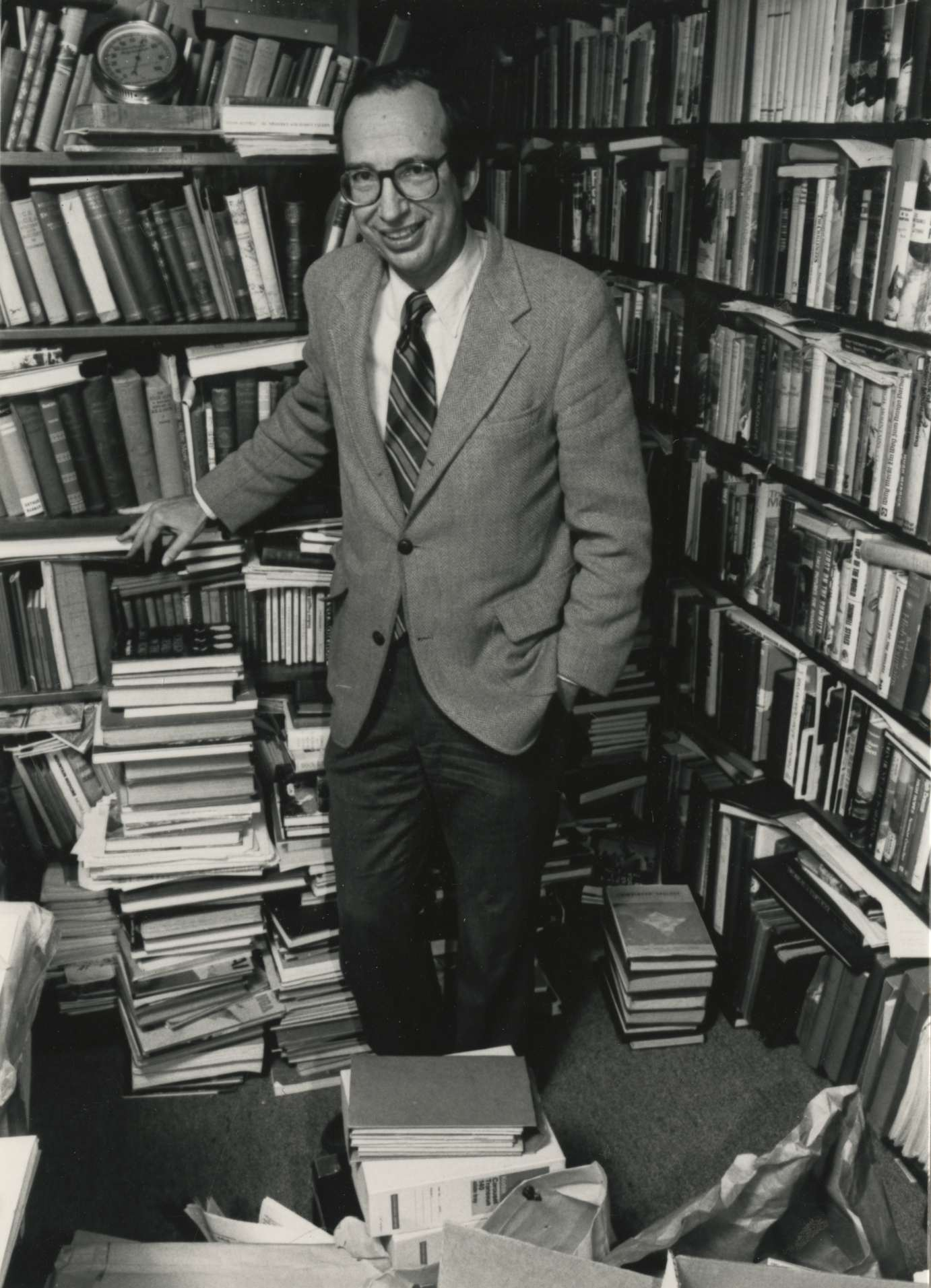 Nick Clinch in his library.