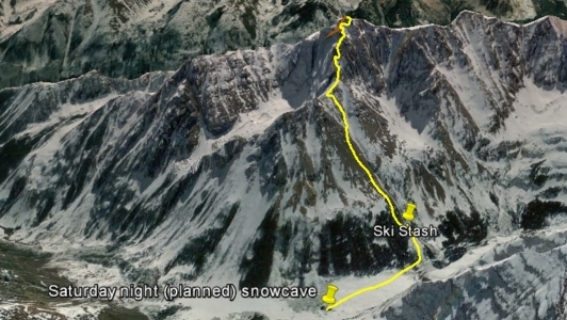 Montoya's ascent route on Pyramid Peak.