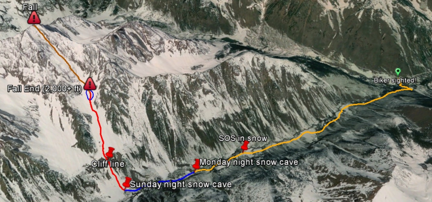Montoya's escape route after falling down the east face of Pyramid Peak. Despite his injuries, he eventually made his way back to the road where he had started.