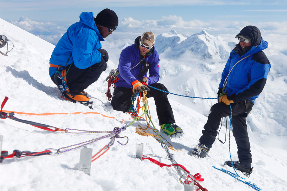 Mountaineering ranger Dave Weber (center) at work in Denali National Park. Photo by Menno Boermans.