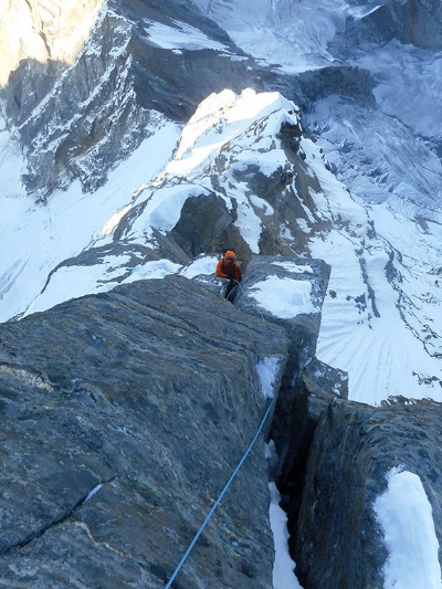 The dreaded six-inch crack near the end of Day 3 on the north ridge. Photo by Alan Rousseau.