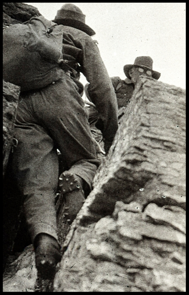 Hobnail boots - in action on Mumm Peak, Canada. 1915Photo from our Andrew James Gilmour collection.