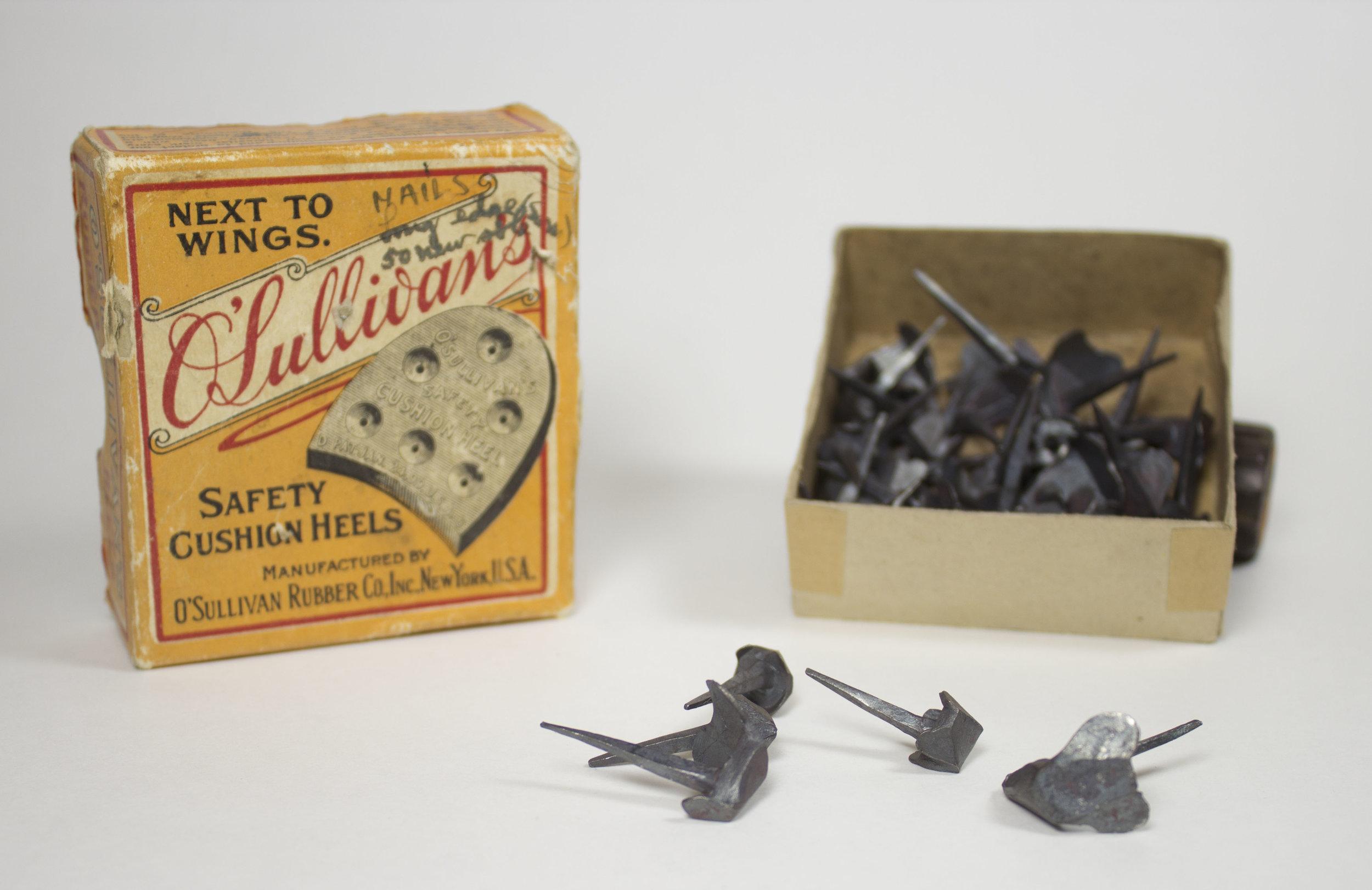 Original hobnails, stored in a reused box
