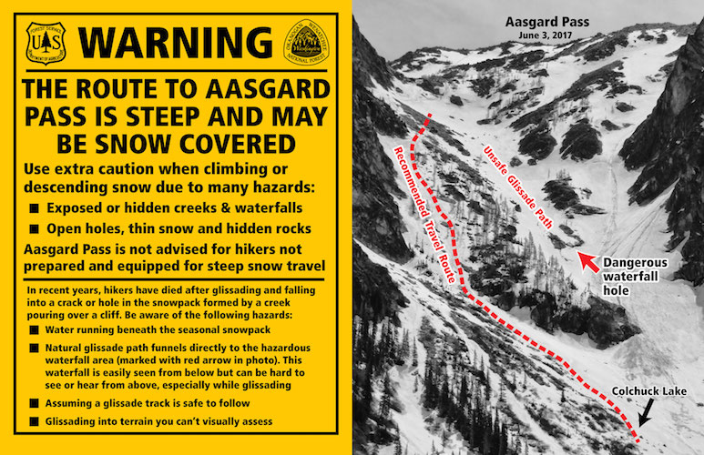 The Forest Service warning installed in the summer of 2017 after a series of accidents on the snowfield below Aasgard Pass.