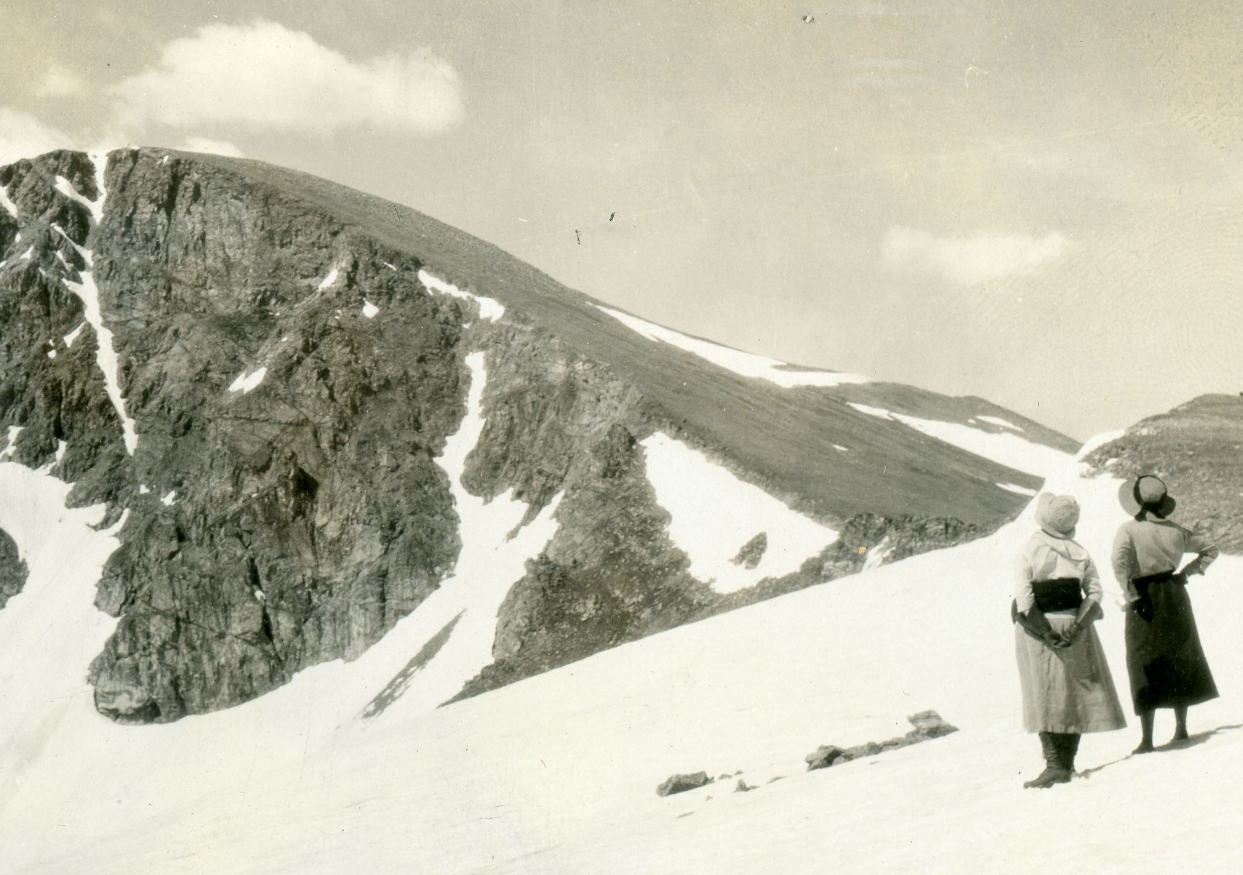 Two women on James Peak in the early 20th century