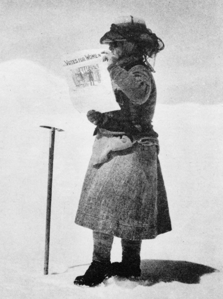 Fanny Bullock Workman was a professional female mountaineer who opted to climb in knickerbockers, but brought a skirt to wear over them when necessary. She's pictured here in an iconic photo on Silver Throne plateau, Karakoram in 1911 - when women in the United States still were unable to vote.
