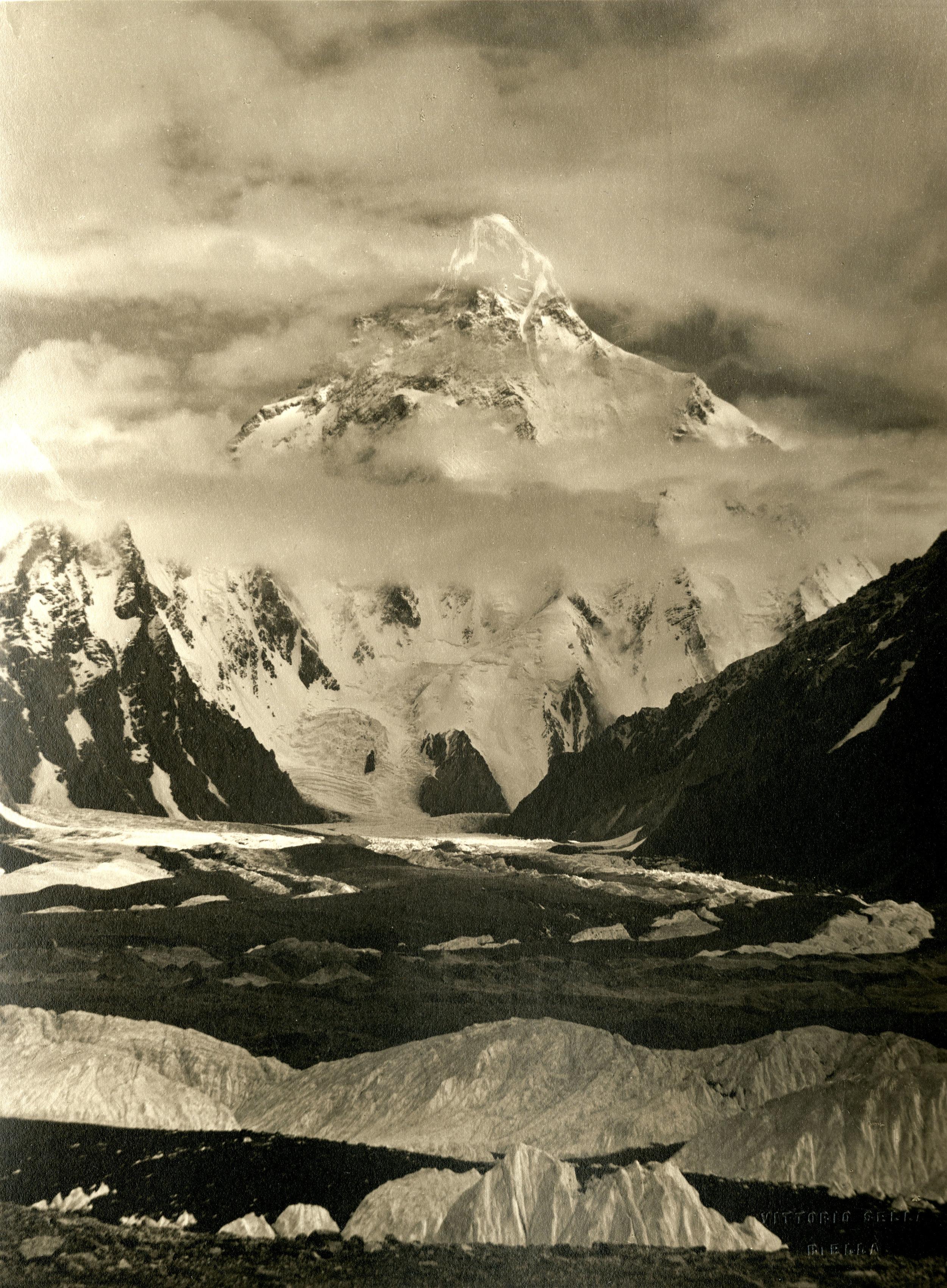 Photograph of K2 from the Baltoro Glacier, taken by Vittorio Sella in 1909. Vittorio Sella Collection
