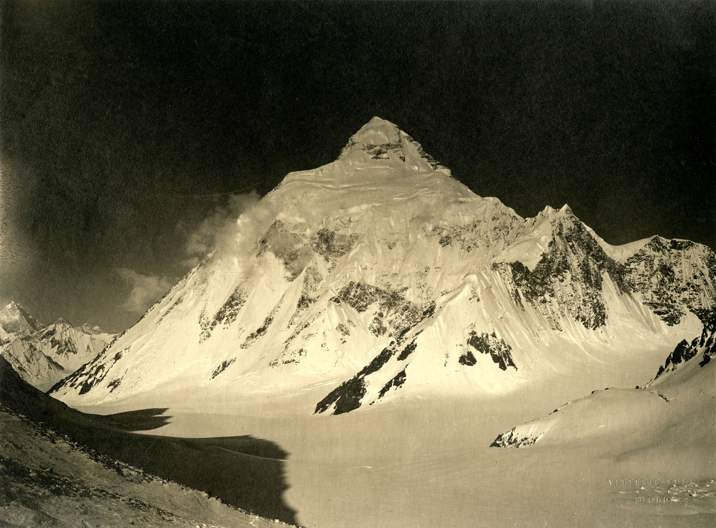 Photograph of K2 from Windy Gap, taken by Vittorio Sella in 1909.  Vittorio Sella Collection