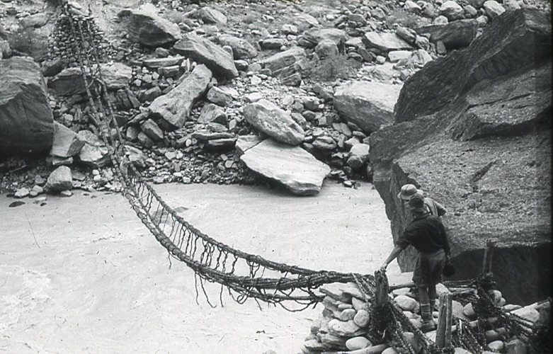 Rope bridge on the approach to K2. Eaton Cromwell Collection