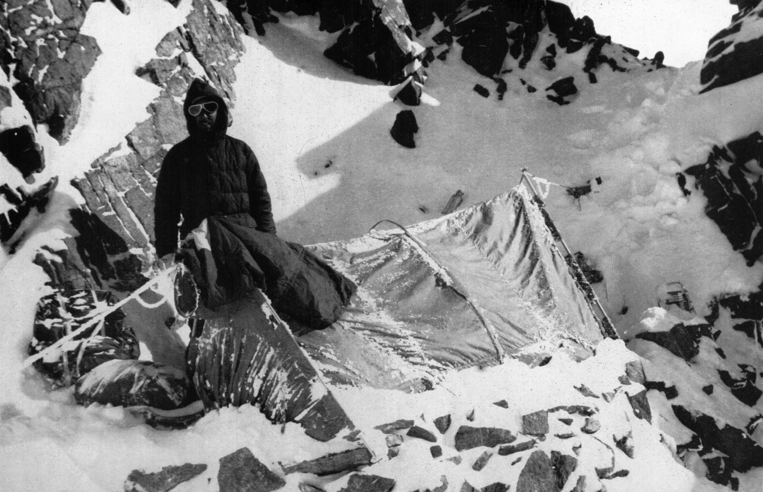 Capt. Streather at Camp III.  Photo, Third American Karakoram Expedition