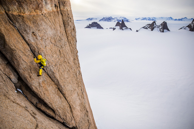 Climbing on Ulvetanna in the otherworldly landscape of Queen Maud Land. Photo by Jimmy Chin / The North Face