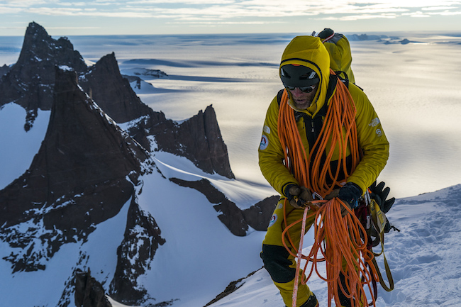 Conrad high on Ulvetanna. Cold was a constant companion on the climb. Photo by Jimmy Chin / The North Face