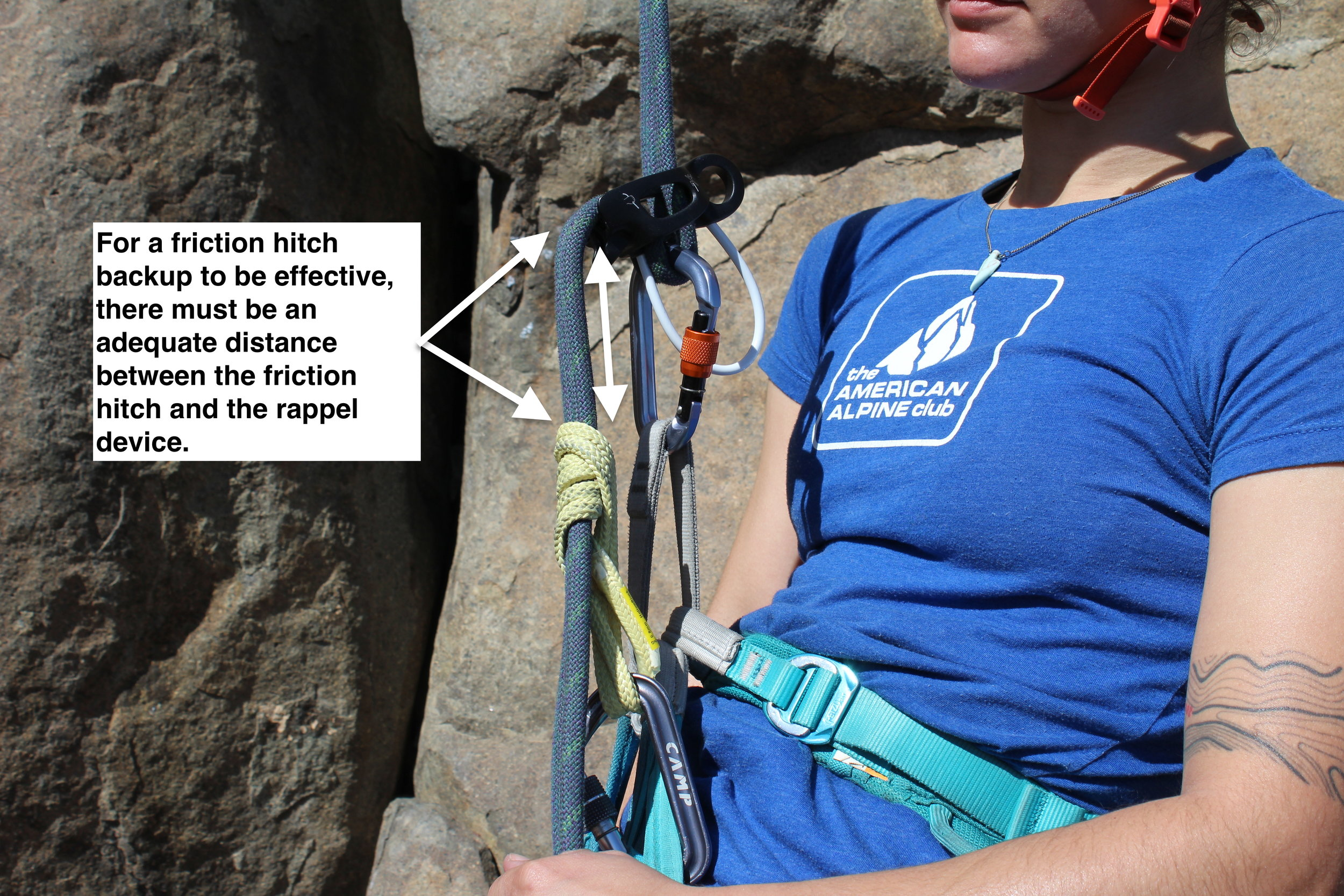 Precise rigging is vital to an effective rappel backup. It's not enough to apply a friction hitch; the distances and positions of all the pieces have to be just right.